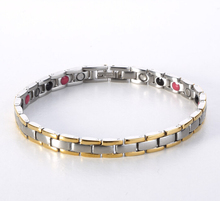 New 4in1 Bio 316L Stainless Steel H Energy Magnetic Power Healthy Bracelet& Bangles Germanium Balance Benefits Ion For Women Men