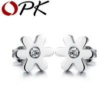 OPK One Pair Stainless Steel Earrings Studs Dance Party Accessories for Xmas Sweet Girl Daisy Design Cubic Zirconia 279