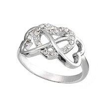 Dawapara  infinity Crystal triple hearts promise rings for lovers wedding rings favors and gifts ring fashion jewelry