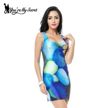 [You're My Secret] SEXY Women Blue Cobble The butterfly Print Galaxy Dress Black Milk Vest Dress Sleeveless Tank Dress For Women