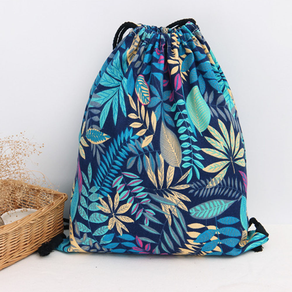 Drawstring Bag Women Men Canvas Travel Storage Package Leaves Printing Teenager Schoolbag Shopping Backpack Navy 2017 Hot Sale