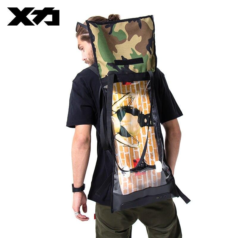 MACKAR Skateboard Backpack Bag 1000D Nylon+Transparent Silicone TPU Shoulder Bags For Skates Hand Mochila Skateboard Carry Bag<br>