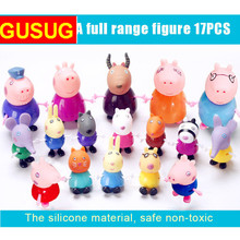 GUSUG 17pcs No box Toys PVC Action  Family Member Toy Juguetes Baby Kid Birthday Gift Toys