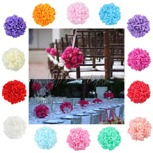 "5pcs 6"" Silk ribbon Foam Rose Flower Ball Artificial Bouquet Wedding Kissing Ball Centerpiece Decorations(China)"