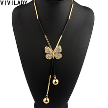 VIVILADY Elegant Butterfly Long Beaded Chain Tassel Necklace Women Rhinestone Office Accessory Bohemia Costumes Jewelry Bijoux(China)