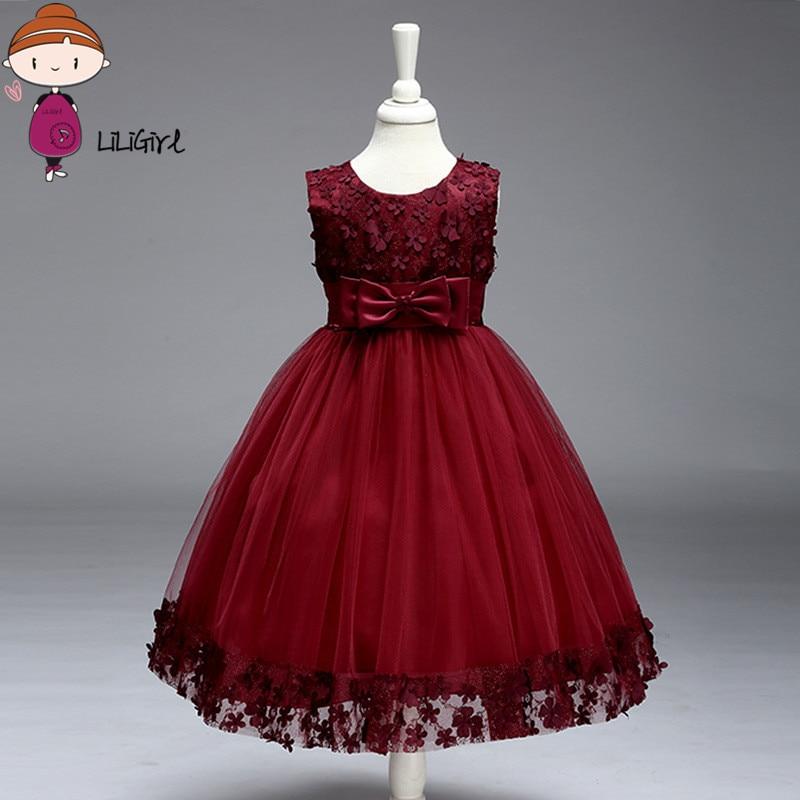 Kids Infant Girl Flower Petals Dress Children Bridesmaid Toddler Elegant Dress Vestido Infantil  Formal  Baby Party Dress<br>