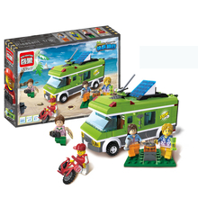 394pcs City Bus Police Serises Travel 5 Figures and Car Building Blocks Educational Bricks Toys(China)
