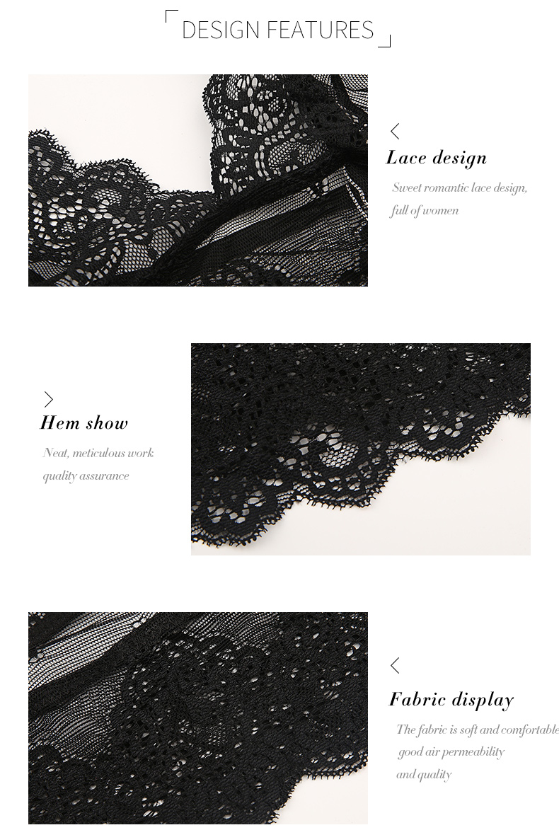HDY Haoduoyi Women Vintage Black Floral Lace Bralette Wireless Bras Lingerie Push Up Bustier Crop Tops Cami Triangle Bras Sexy 6