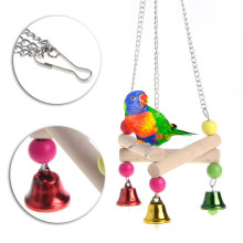 2017 New Wooden Triangle Parrot Pet Toys Swing Ring Bell Toys Hanging Chew Cage Bites Climb Toys For Birds Supplies