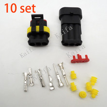 10 sets Kit 3 Pin 1/2/3/4 pins Way Waterproof Electrical Wire automotive Connector Plug for car