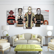 Canvas Wall Art Images Prints HD Frame 5 Pieces Comics Graceful Freddy Krueger Paintings Horror Movie Poster Living Room Decor(China)