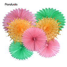 7pcs/set Tissue Paper Fan Craft Party Event Decoration Hanging Tissue Paper Flower Fans Favor Outdoor Wedding Party suppliers