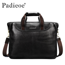 Padieoe New Fashion Men Business Bags Famous Brand Portfolio Male Genuine Leather Mens Briefcase Hot Sale Handbag Tote Handbag(China)