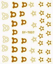6 PACKS / LOT Gold/ Silver  Water Stickers Metallic Nail Decals GALAXY STAR MOON HEART CROWN CLOUD  SYT037-042
