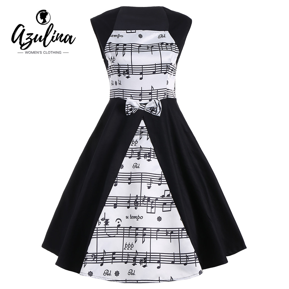 AZULINA 2017 New Fashion Musical Notes Print Vintage Dress Women Retro 50s 60s Rockabilly Sleeveless Patchwork Party Dresses