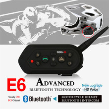 1Pcs 1200m Ejeas E6 Motorcycle Communication System Vox Bluetooth Motorbike Intercom Helmet Headset Upgradable Program MP3(China)