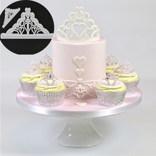 2PCS/SET Tiara Cutter Plastic Cake Mold Sugarcraft Molds Fondant Cake Decoration(China)