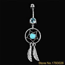 Crystal Gem Catcher Feather Chain Dangle Belly Barbell Button Navel Ring Art Body Jewelry 4T5X