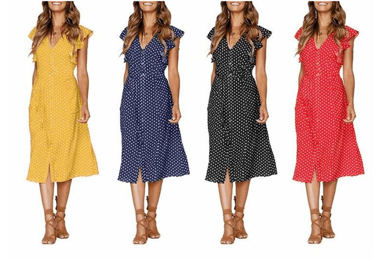 HTB1ewLAvyCYBuNkHFCcq6AHtVXay - Tangada polka dot dress for women office midi dress 80s 2018 vintage cute A-line dress red blue ruffle sleeve vestidos AON08