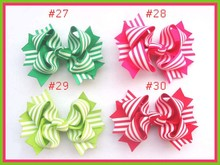 "Free shipping 2017 Newest 160pcs 4.5"" twist hair bows Girl Boutique hair bows two tone windmill Hair Bows"