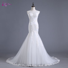 Buy Waulizane Delicate Appliques Scoop Neck Mermaid Wedding Dress Simple Lace Embroidery Tulle Cap Sleeve 2017 Bridal Gown Hot Sale for $188.78 in AliExpress store
