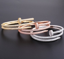double circle nail bracelet bangles with zircon,rose gold gold silver cz stone branded jewelry imitation for female birthday gif(China)