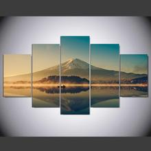 DAFENJINGMO ARTS Large Canvas Wall Art 5 Panel Modern Painting And Prints Fuji Mountain Peaceful Lake Landscape Japanese Picture