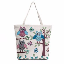 Owl Printed Canvas Tote  ladies bag Casual Beach Bags Women Shopping Bag women's handbags women bag 2017 wholesale Free Shipping