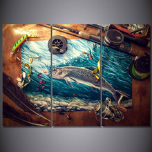 Home Decor HD Prints Canvas Wall Art Pictures 3 Pieces Fishing Rod Tuna Blue Ocean Paintings Living Room Fish Posters Framework(China)
