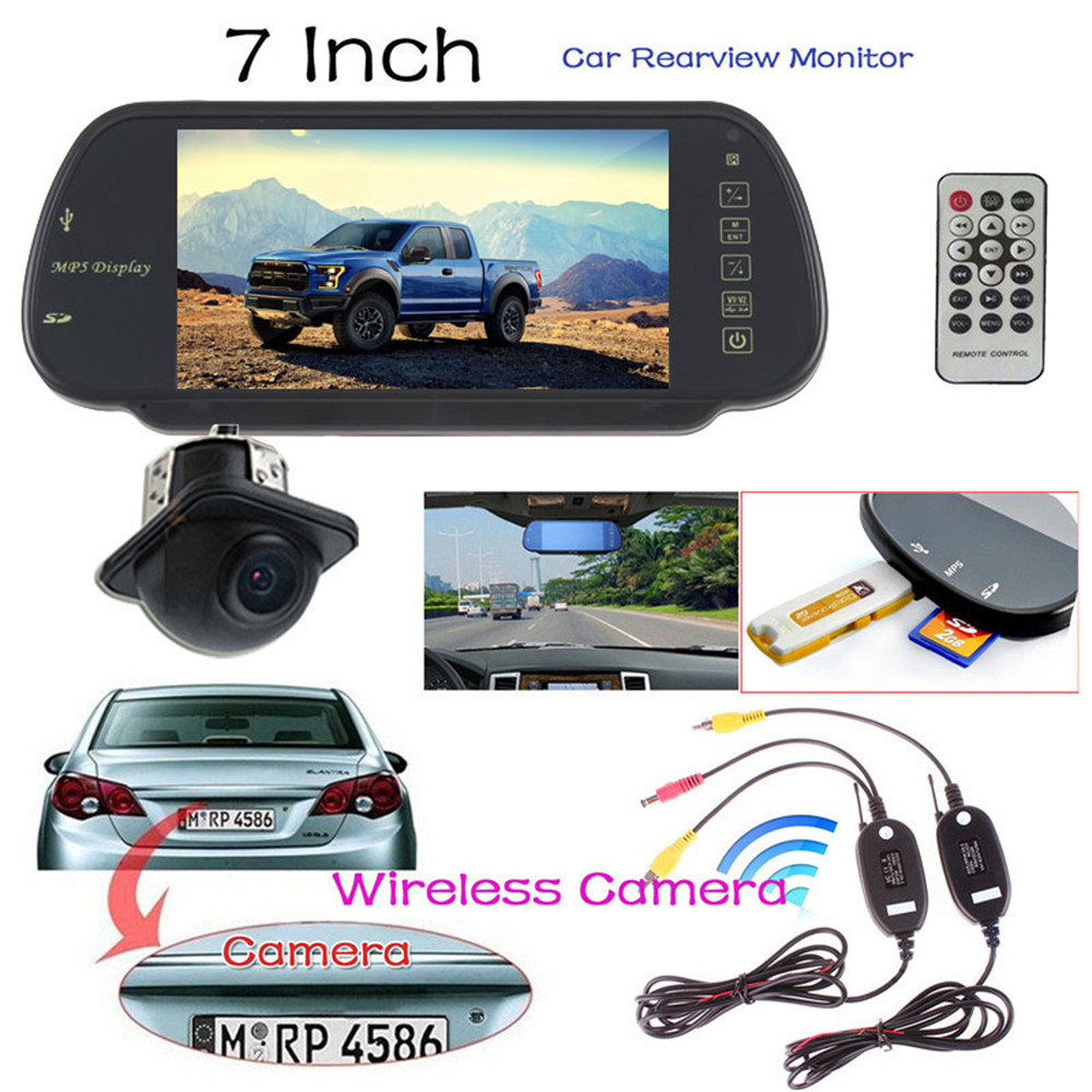 Car Rearview Parking Kit 7 Inch TFT LCD Color Screen Car Rear View Monitor + Backup Camera + Video Transmitter and Receiver Kit(China)