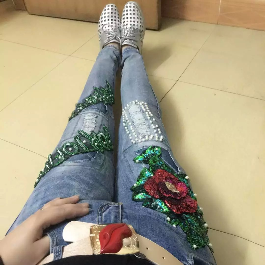 Fashion paillette 2017 distrressed fashionable casual denim pants Patchwork beaded rhinestone jeans femaleОдежда и ак�е��уары<br><br><br>Aliexpress