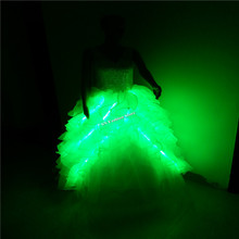GG10 Colorful Ballroom singer dance  LED light costumes wedding dress bar dj disco party stage model show bride evening clothing
