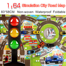 Waterproof 83*58CM Car Toy Playmat Simulation Toys City Road Map Parking Lot Playing Mat Portable Floor Games 2 maps w/Guidepost(China)