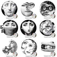NO.113-140 Designer Fornasetti Wallpaper Transparent Stickers Wall Stickers For Wall Decoration Living Room 1PCS