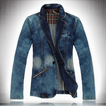 2017 New Denim Casual Jacket Men Cotton Suit Mens Blue Coat Men Outerwear Jeans Blazer 4XL Slim Vintage Denim Blazers