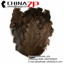 Retail and Wholesale from CHINAZP Factory Top Quality Dyed Brown Curly Goose Nagorie Pad Feather(China)
