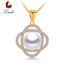 Luxury Solid Silver Pendants For Women Big 9-10mm Natural Freshwater Pearl Necklaces & Pendants Fashion Jewelry With Box Lindo(China)