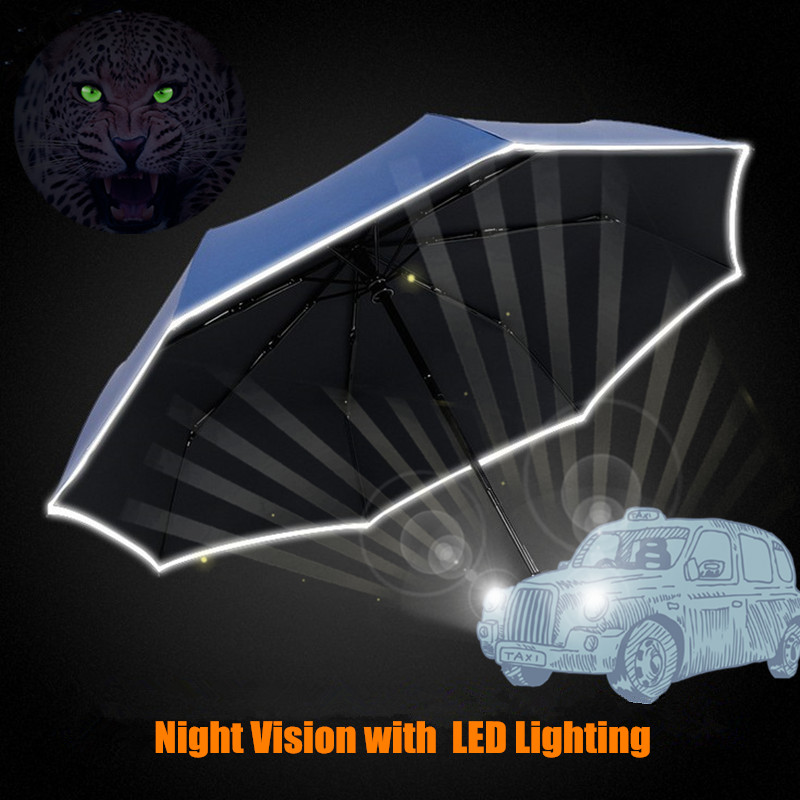 Car Safety Sunny Rainy Fashion Creative Folding Umbrella Full Automatic Windproof Men Women LED Lighting Reflective Stripe(China (Mainland))
