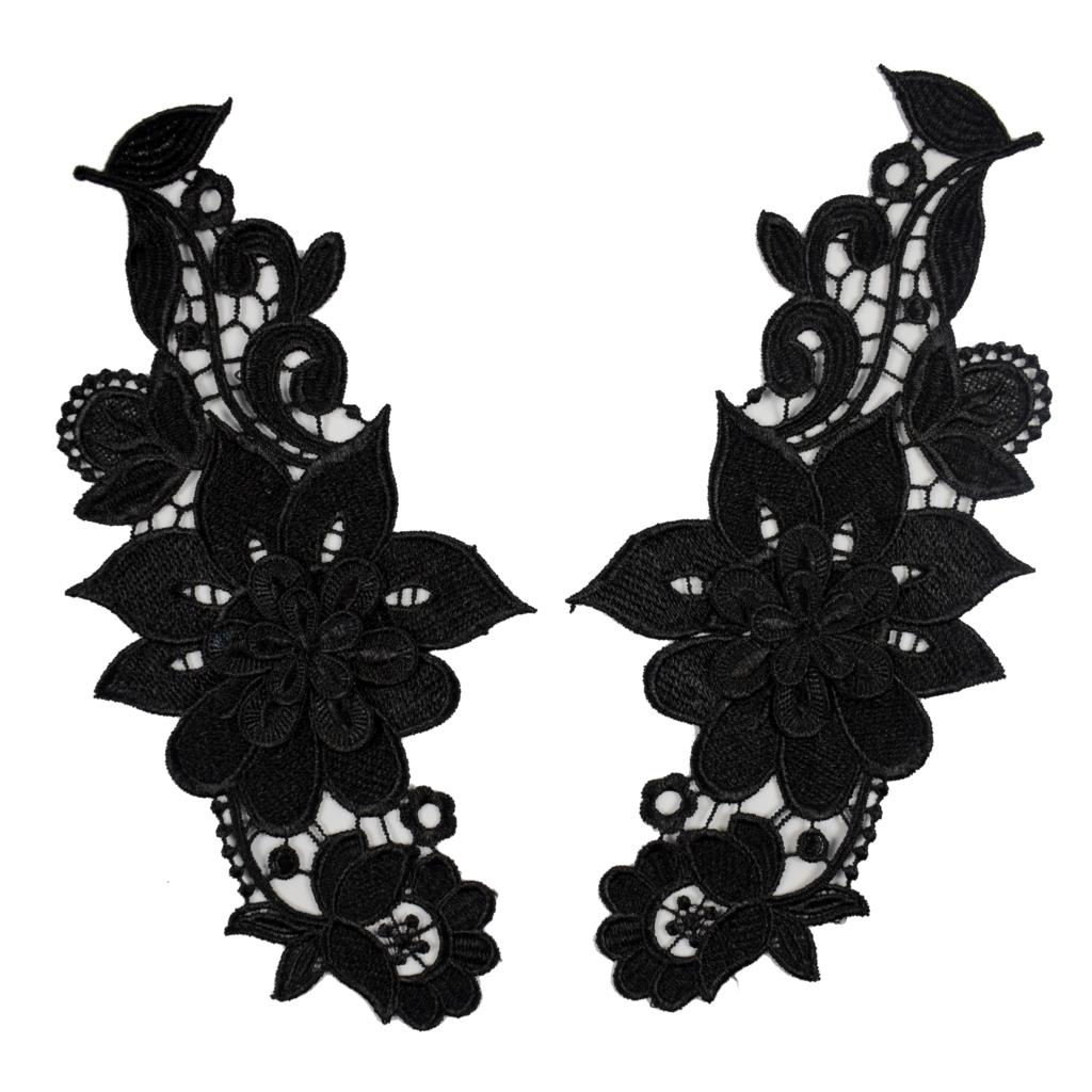 5 pair lace collar appliques organza collar motifs Sewing Accessories Trimmings