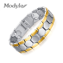 Modyle Gold-Color Men Bracelet Jewelry Energy Health Magnetic Bracelets for Man Charm Balance Bracelets(China)