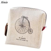 Canvas Coin Purse Retro women Eiffel Tower Printed Purse Card Key Coin Bag Pouch Case monederos para mujer purses #0(China)