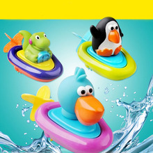 New Baby bath toys children play in the water swimming boat essential Clockwork rope toys wheel type dabbling toy(China)