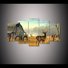 5 panel Whitetail Deer Farm Printed Wall Art for Home DecorativeCanvas Painting Picture Canvas Wall Art For Living Room F0316(China)