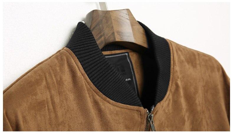 Jacket Men High Quality Autumn Baseball Collar Suede Spring Mens Jacket Coat Male Winter Warm Camel Size M L XL XXL 3XL 2018 New-07