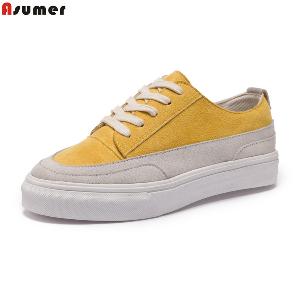 Asumer yellow black white fashion spring autumn women shoes cow suede ladies flats shoes lace up casual shoes simpl comfortable<br>