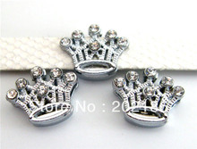 10pcs 8mm Rhinestone Crown Slide Charms DIY Accessory Fit Pet Dog Cat Tag Collar Wristband