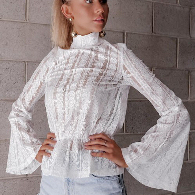 DeRuiLaDy 2018 Women Lace Blouse Shirt Elegant Flare Sleeve Long Sleeve Sexy Transparent Shits Casual Stand Chiffon White Tops 4
