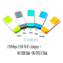 Colorful 8G 150Mbps Mini Wireless WIFI USB Flash Drive + 8G USB Disk + 8G OTG U Disk WiFi Hotspot