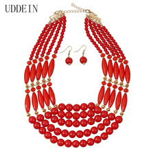 UDDEIN Royal Statement Necklace Nigerian Wedding African Beads Jewelry Set Costume Jewelry Sets Beads Statement Necklace Women(China)