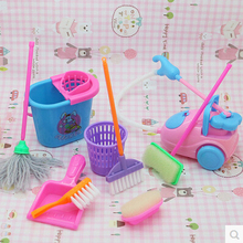 FREE SHIPPPING , dolls High-grade Cleaning Kit for Girl Barbie Dolls , Household cleaning tools for barbie dolls (1 Set=9 pcs)(China)